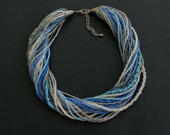 Multistrand Beaded Necklace//Blue//Turquoise//White//Silver//Free Shipping