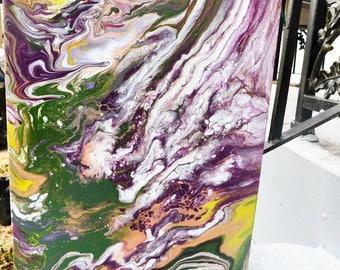 Acrylic Pour - 11x14 - Mardi Gras