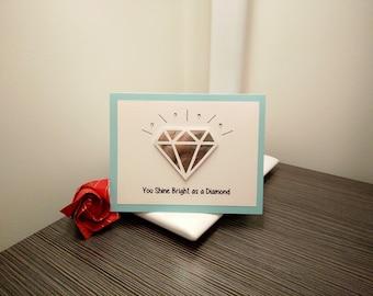 Diamond Card - Friendship Card - Appreciation Card - Handmade Cards