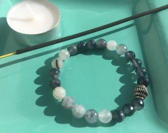 Grey quartz bracelet, real stone bracelet, elastic bracelet, beads bracelet, energy bracelet, beaded bracelet, grey