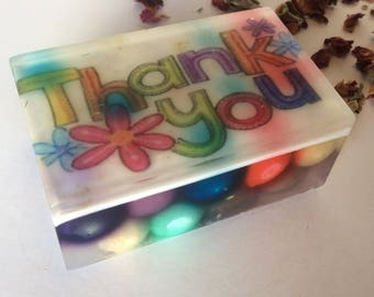Handmade organic soap, thank you image soap, gift soap, thank you soap