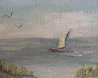 Vintage Miniature Landscape Oil Painting Sailboat Beach Coastal Landscape Art