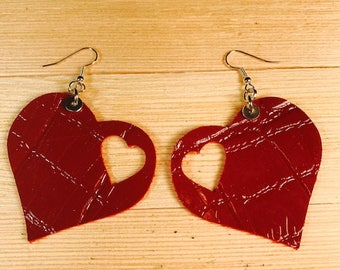 Valentine leather earrings cow leather heart lightweight stainless steel hook rubber stoppers