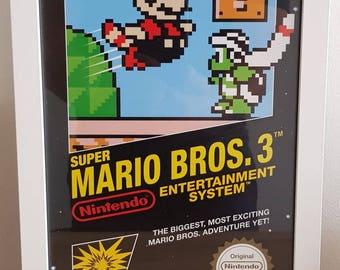 Super Mario Bros 3 NES Black Box inspired poster