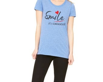 Premium Ladies' Casual Fitted Tee with Smile Typography Print