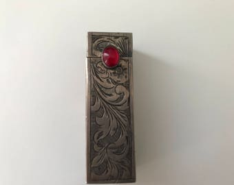 Italian Engraved 800 Silver Vintage Lipstick Case
