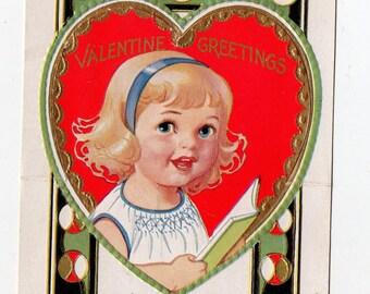 Vintage Girl With Book Valentine   Books, Reading, Girls, Child, Children, Greeting Card   Valentine's Day, Valentines  Paper Ephemera