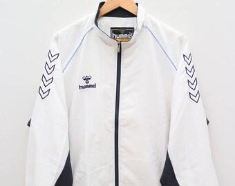 HUMMEL Sportswear Small Logo White Vintage Windbreaker Size XXL