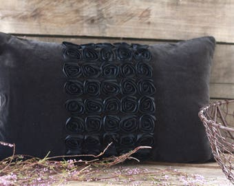 "Handmade pillow 20""x 12"" vintage roses satin. Black velvet pillow. French vintage fabric. French linen. Vintage linen. French velvet cushion"