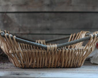 French antique wicker laundry basket. French. French toys trunk. Clothes basket. Storage basket. French ironing basket. Pressing basket