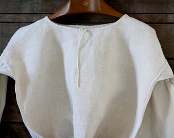French pure hemp (100 % chanvre) nightgown 19th. Nightgown. French linen. Antique hemp nightdress. Garden blouse. Victorian nightdress. Hemp