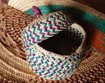 Straw basket with lid,hand woven,colorful design,vintage,hand woven straw basket with lid,Arabic