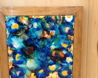 "Framed alchol ink tile ""Giant Pansy"", ready to hang"