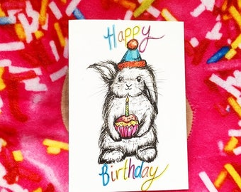 Birthday rabbit card- cute birthday card- happy birthday card- rabbit card- birthday bunny card- 1st birthday card- cards for her