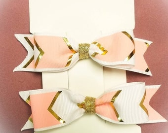 Pink and Gold Chevron Pigtail Hair Clips