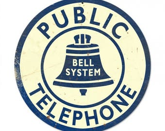 Bell System Public Telephone Tin Metal Sign Vintage Styled Pay Phone Booth Bar