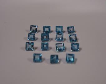 3.5MM Square Genuine Swiss Blue Topaz Gemstone Parcel