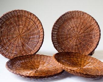 Vintage Wicker Trivet Baskets Set of 4