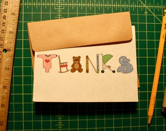 Baby Shower Thank You Card - Set of 20