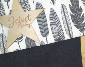 Grey Feather Pram / Bassinet Blanket