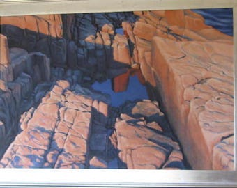 Expanding Universe, rock formation, beige with blue, ocean background. Oil on canvas hand made.