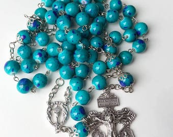 Glass Turquoise Rosary