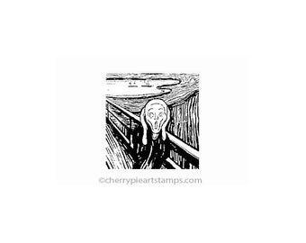 The SCREAM by Edvard Munch- CLiNG Rubber STaMP by Cherry Pies E187