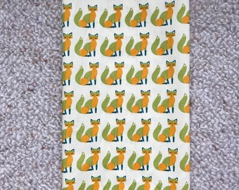 LARGE Reusable Cotton Beeswax Food Wrap Vintage Skandi Fox Yellow Orange Gold Green  30cm x 30cm Zero Waste
