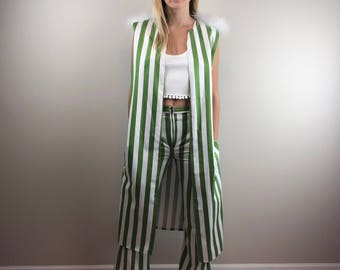 Striped Vest Open Duster with Feathers Rock n Roll