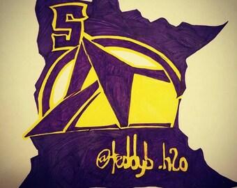 Minnesota state with US Bank/Teddy Bridgewater art.