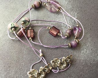 Purple Beaded Tie Necklace