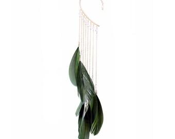 Green Fairy Tassel Feather Earring