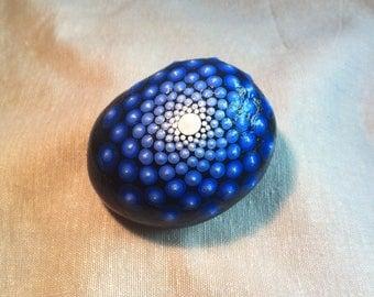 Blue gradient mandala rock