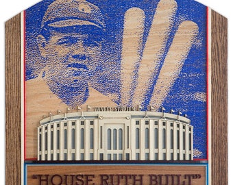 "Handmade 3D Wood Art - New York Yankees ""House Ruth Built"""