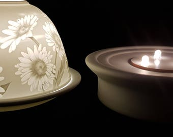 Hand Etched White Porcelain Tealight Candle Holder and LED Porcelain Base- Daisies