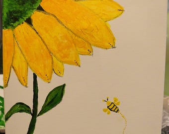 Sunflower and a bee painting