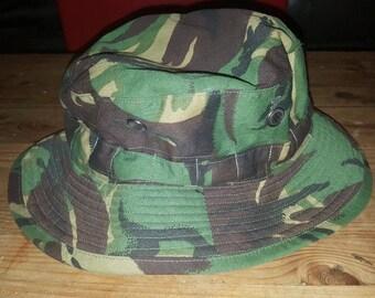 Vintage British Army dpm boonie hat, size 58
