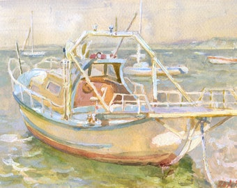 "Watercolor Painting "" Fishing Boat"""
