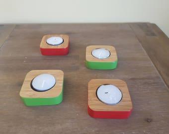 Set of Wood Candle Holder
