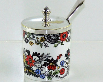 Vintage Jon Anton Bone China Jam Jelly Mustard Condiment Jar EPNS Spoon England
