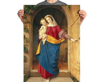 Virgin and Child Poster - religious art - Madonna and Child - religious gift idea - Virgin Mary art - Religious print