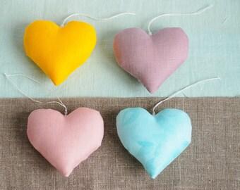 Hanging linen hearts set, stuffed toys, nursery decor, birthday ornaments, fabric hearts, baby shower decor, gift for new mom, wedding heart
