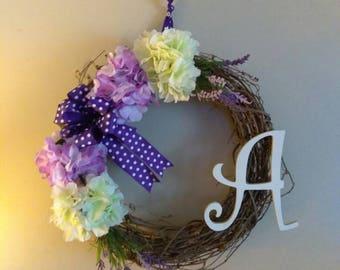 Door wreath.Jump into spring! I love purple!