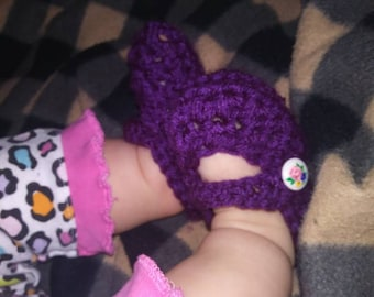 Purple Mary Jane baby booties