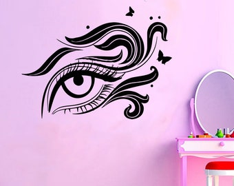 Wall Decal Window Sticker Beauty Salon Woman Face Eyelashes Lashes Eyebrows Brows t46