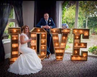 4ft Large Rustic Pallet Wooden Wedding Light Up Love Letters