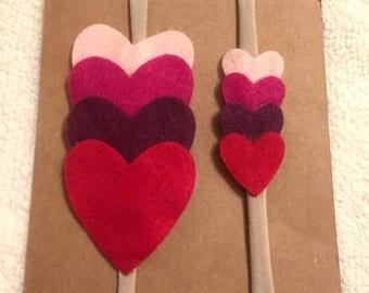 Heart Shaped Headband, Nylon Headband, Handmade, Baby pink, Shocking Pink, Red