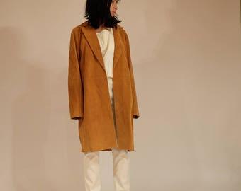 Suede Camel Lapel Jacket, M