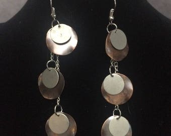 Silver and bronze disk earrings