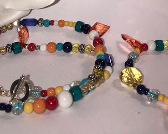 Tropical Teal Boho Necklace & Bracelet Set